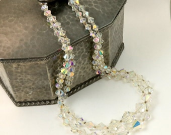 Vintage Double Strand Aurora Borealis Clear Bicone Crystal Glass Bead Necklace