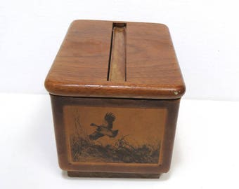 Vintage Cigarette Dispenser Box/ Wooden with Leather Sides/ Sportsman Bird Dogs Theme