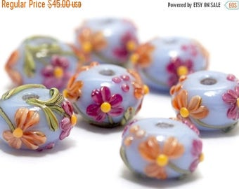 ON SALE 35% OFF Handmade Glass Lampwork Bead - Seven Morgan's Bouquet Rondelle Beads 10604401
