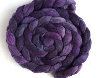 Pre-Order Colorway, Merino Wool Roving Superfine - Hand Dyed Spinning or Felting Fiber, Violet Dusk