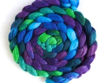 Merino/ Superwash Merino/ Silk Roving (Top) - Handpainted Spinning or Felting Fiber, Cool Storm