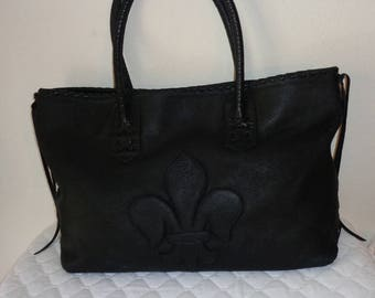 Designer USA Made ex large shopping tote, purse, satchel, overnight  bag, handbag, carryall in buttery Italian black leather vintage