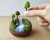 Playscape for Grown-ups, Movable Mini Trees, Made To Order Miniature Landscape River Stream Waterfall, Pin Toppers Pincushion Pin Cushion