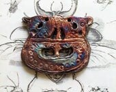 162. Viking Hoard Viking Ship Medallion Copper Gold Blue Magenta Earthenware Raku  Pendant Tile Cabochon Cosplay