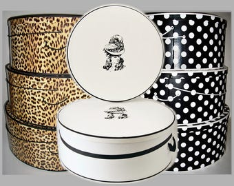 """3 Design Choices ~ SUPERSiZE ~ 20""""~ 22"""" & 24"""" x 8""""-9"""" Deep ~ Millinery HAT BOX ~ HATBOXES ~ Stack of 3"""