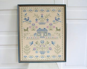 Vintage House Embroidery, Cross Stitch Sampler, Vintage Framed Embroidery, Cross Stitch, House Blessing Embroidery, Vintage Cross Stitch