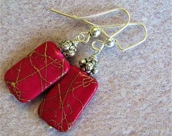 Fuchsia Purple Earrings, Red Purple Earrings, Purple Dangle Earrings, Magenta Purple and Silver Earrings