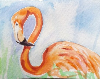 original watercolor painting ACEO flamingo bird,2.5x3.5 inches