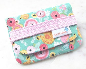 Sanitary Pad Holder, Modern Floral, Pink and Aqua, Feminine, Tampon Case, Sanitary Pad Case, Tampon Holder, Sanitary Napkins, Period Case