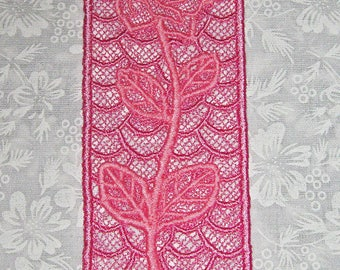 Beautiful Pink  Rose Bookmark, Lace, Machine Embroidery