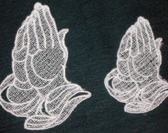 "Set of two Lace Praying Hands, Machine Embroidery, sizes 2 1/2"" x 2"", 2"" x 1 3/4"""
