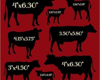 Primitive Stencil Cows in Different Sizes 12x12