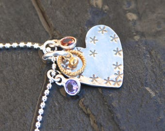 sterling silver heart, cubic zirconia and vermeil valentines necklace