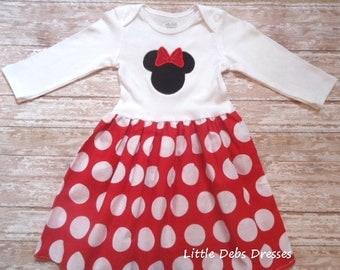 Minnie Mouse Dress, Disney Dress, Girls Red White Dot Dress, Birthday Dress, Girls Dress, Longsleeve, Ready To Ship, Size 6-12M