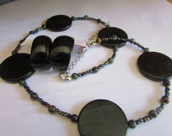 black circle stone necklace
