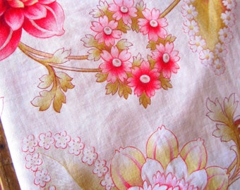 Antique French Fabric - Pink Florals - Napoleon III Period, Mid 1800s, Antique Rose, French House Decor, Collectable Fabric, French Fabric