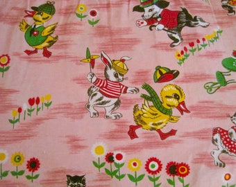 Vintage Children's Fabric, 1960s Fabric, Nursery Decor,Patchwork, Quilting, Animal Print, Novelty Fabric, Anthropomorphic Print, Fabric
