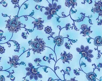 Duchess Floral Scroll Blue White fabric | CM5229 - MIST | Chong-a Hwang | Timeless Treasures