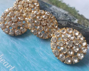 Vintage Buttons - 4 large  beautiful flower design rhinestone embellished, antique gold finish metal (June 43-17)