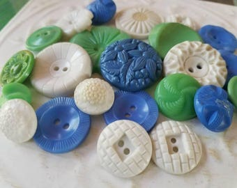 Vintage Buttons - Cottage chic fancy pierced mix of blue, green, white lot of 23 old and sweet( July 401 17)