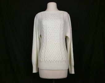 Vintage Sweater Cream Boatneck Acrylic Knit Sweater Womens M L 70s Mademoiselle Knitwear