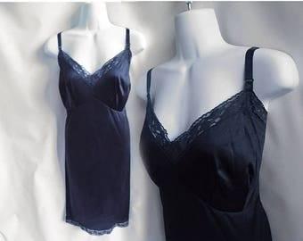 50s Vintage Slip Size XL Plus Black Nylon Lace Vanity Fair 60s He She