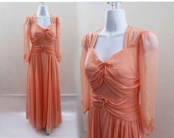 Vintage 40s Dress Size S M Pink Chiffon Rockabilly Bridesmaid Rayon Pin Up prom