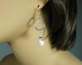 Sterling Silver Pink Shell & Freshwater Pearl Hoop Dangle Earrings