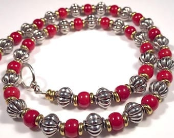 Red Coral and Silver Beaded Necklace with Brass Accent Beads.