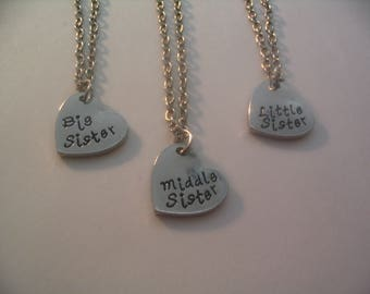Big Sister Middle Sister Little Sister Heart Charm Necklaces Jewelry  Gift