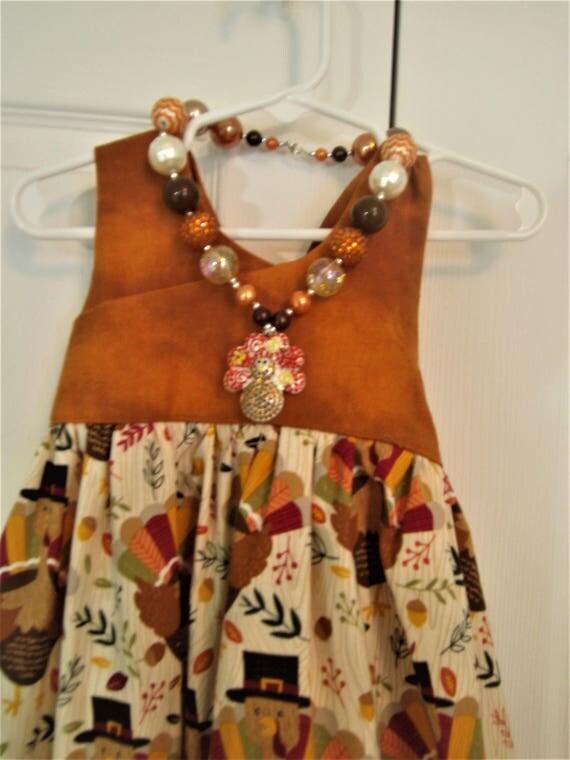 Girls Thanksgiving Dress, Handmade dress, Turkey Dress, Baby Dress,Toddler Dress,Preteen Dress, Holiday Dress, Party Dress,