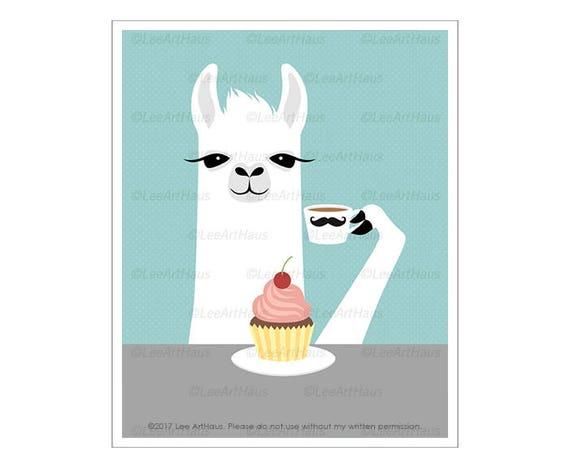 40J Funny Animal Art - Llama Eating a Cupcake Wall Art - Cupcake Lover Gift - Coffee and Cupcake Print - Cupcake with Pink Frosting Print