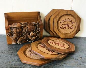 vintage wooden coaster set - cork elephant coasters - Thailand souvenir - brown woodgrain