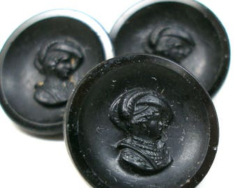 "3 Antique GLASS buttons,  Victorian black glass with lady in side profile,  5/8""."