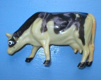 Vintage Nylint Cow Hard Plastic Farm Animal Milk Cow Black White Cow Toy Cow