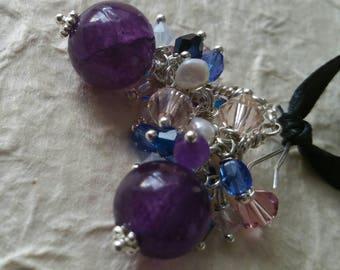 Deep Purple Amethysts Swarovski Crystal and Pearl Earrings