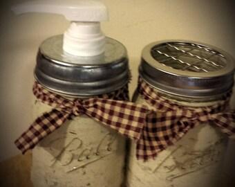 2pc Bathroom Mason Jar Set ~ Pint Size
