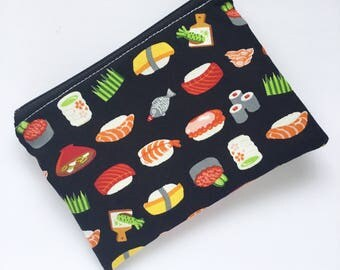Zippered Snack Bag - Sushi Snack Bag - Lunch Pouch - Ecofriendly - Snack Bag - Reusable - Lunch Bag - Snack Sack - Kids Lunch Bag