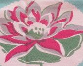 Vintage Tablecloth  Aqua & Magents Lotus Water Lily Floral