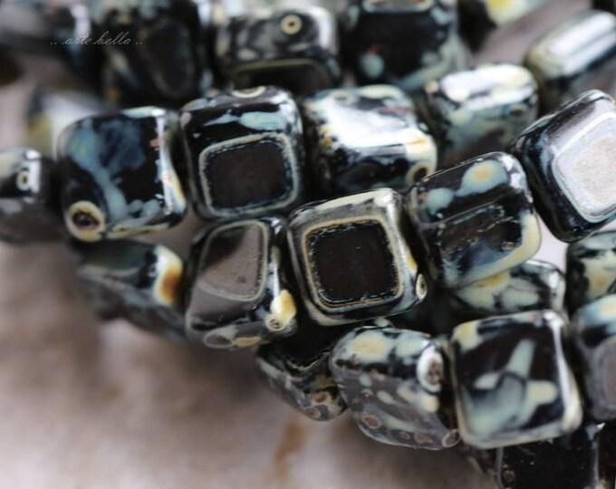 TWILIGHT TILES .. 25 Premium Picasso Glass Czech Tile Beads 6mm (5842-st)