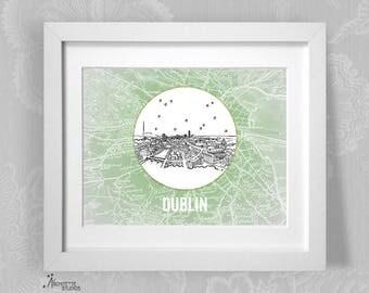 Dublin, Ireland - Europe - Instant Download Printable Art - Vintage City Skyline Map Series