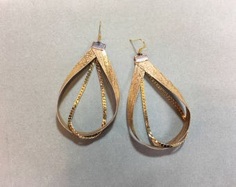 Metallic gold round hoop leather and chain abstract statement earrings