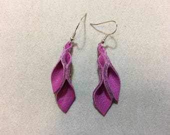 Deep Pink leather Petal Earrings 2 inch