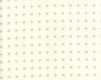 MODA Modern BG Background Colorbox Geometric Crosses Porcelain Dove Grey 1645 21 Yardage by Brigitte Heitland of Zen Chic