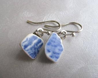 Blue Ceramic Earrings - Sea Glass Jewelry - Ocean Jewelry Sea Glass Gifts of the Sea - Genuine Ceramic from the Beach
