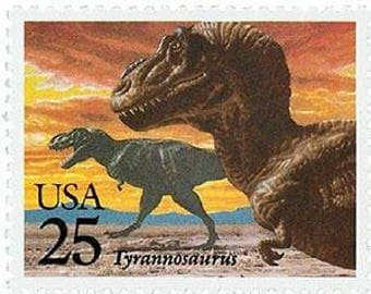 Five (5) vintage postage stamps - Dinosaurs - Tyrannosaurus // 25 cent stamps // Face value 1.25 dollars