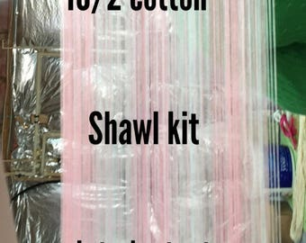 Cotton Candy Shawl weaving-kit-loom-handwoven- handmade-weaving kit-pink and silver stripes-weaving