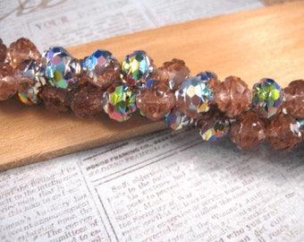 Czech Fire Polished Rosebud 7x8mm Glass Beads / Rosaline - Vitral - 25 Beads to a Strand