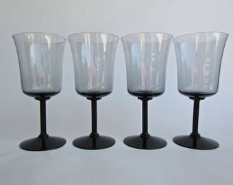 Fostoria Princess Gray Water Glasses, Set of 4 Delicate MCM Glasses in Grey w/ Black Pillared Stem & Flower rondelle