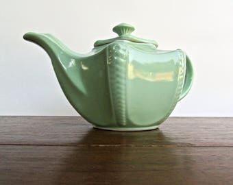 Rare Celadon Porcelain Disraeli Plume Starfish Teapot, Large Deeply Undulating Form by Hall, Pristine 1946